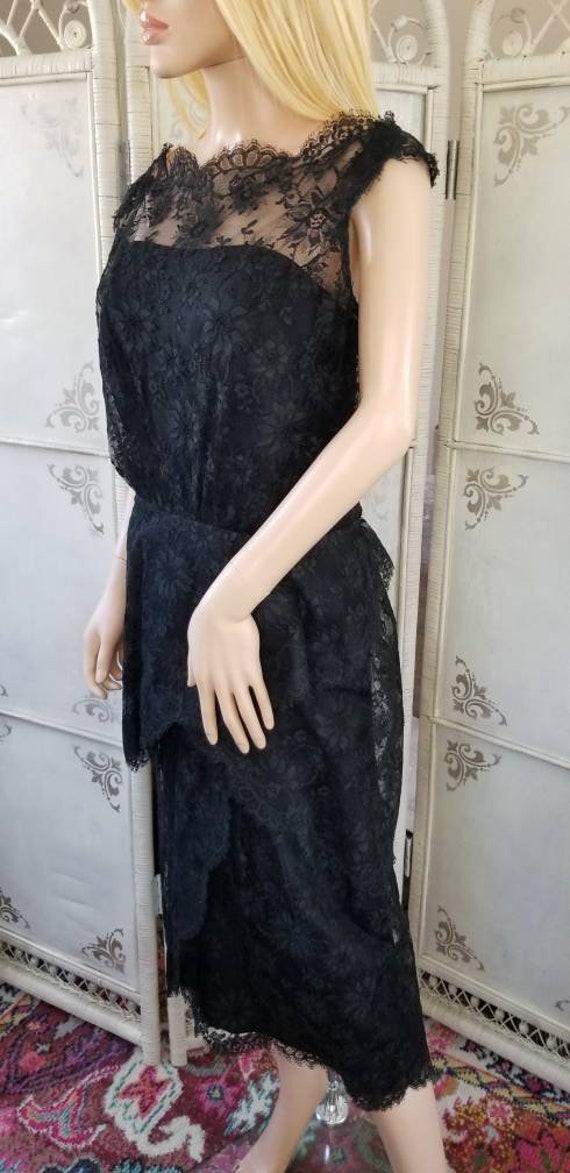 60s Ceil Chapman Black Lace Tiered Cocktail Dress - image 5