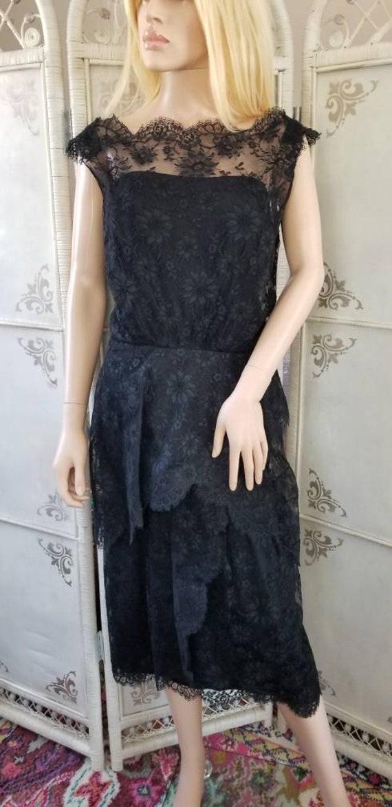 60s Ceil Chapman Black Lace Tiered Cocktail Dress - image 3