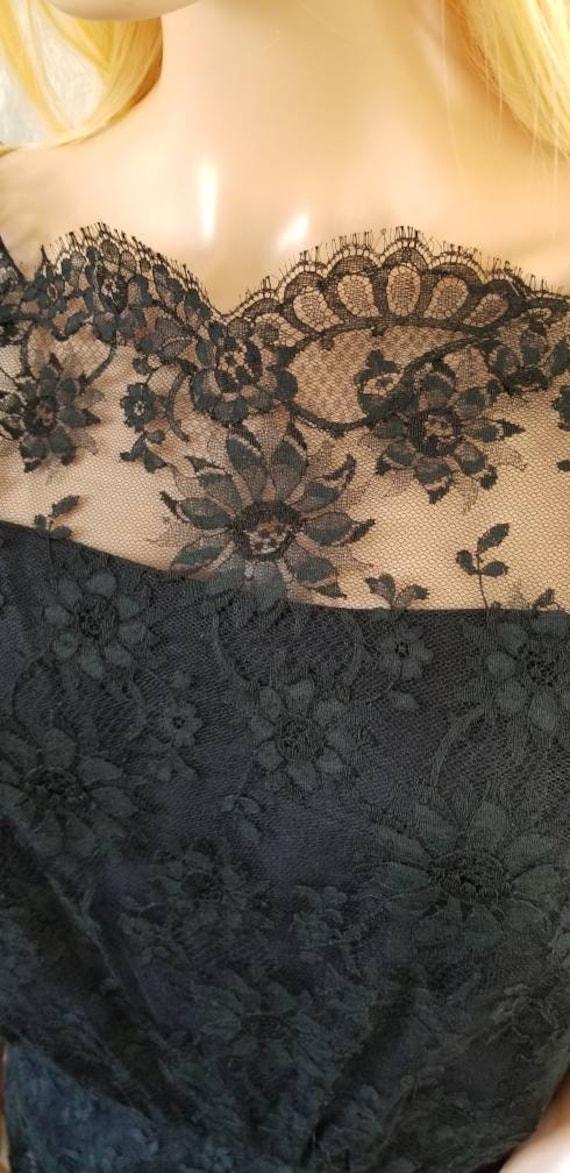60s Ceil Chapman Black Lace Tiered Cocktail Dress - image 4
