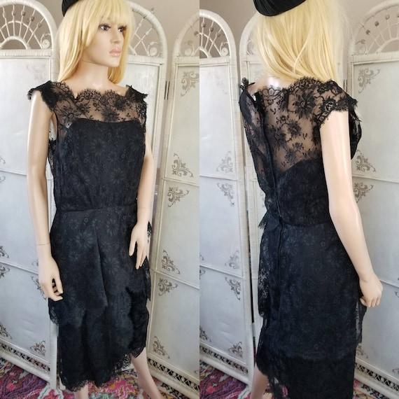 60s Ceil Chapman Black Lace Tiered Cocktail Dress - image 1