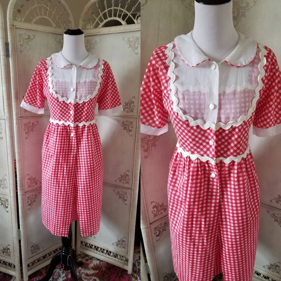 50s-60s Gingham Dress Two Piece Red and White Dres