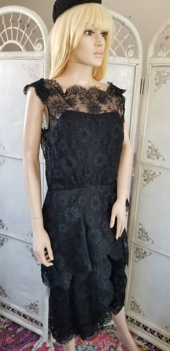 60s Ceil Chapman Black Lace Tiered Cocktail Dress - image 8