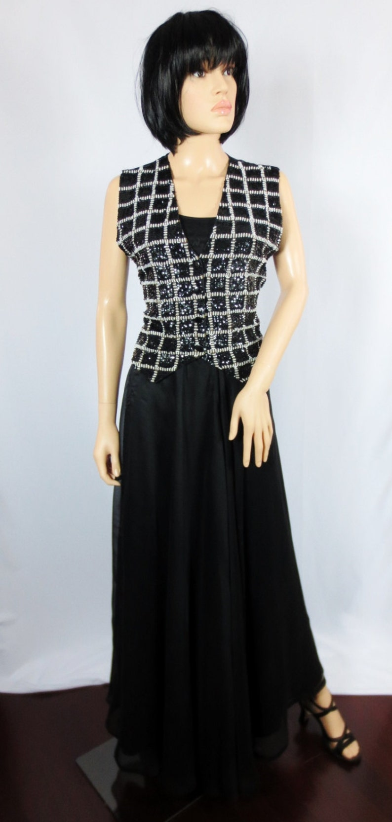 Vintage Effeci Beaded Sequined Vest Black and White Check Size Small