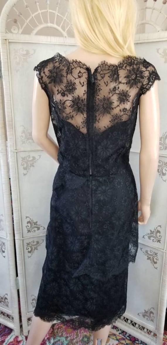 60s Ceil Chapman Black Lace Tiered Cocktail Dress - image 6