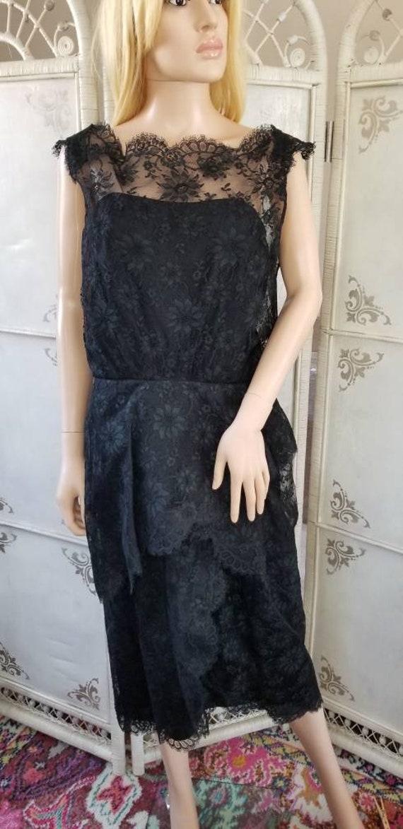 60s Ceil Chapman Black Lace Tiered Cocktail Dress - image 10