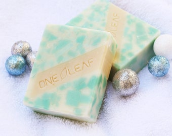 Organic Icey Handmade Soap, Peppermint Natural Artisan Soap, handcrafted soap, Teal soap, handmade olive oil soap