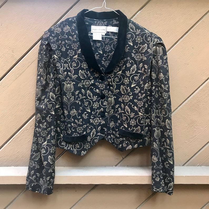 Vintage 90s Black Victsorian Style Floral Blazer Tuxedo Shirt