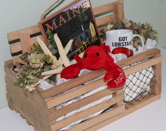 Rustic Maine Lobster Trap Card/Gift Box - Red Oak