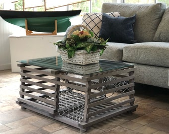 Maine Wooden Lobster Trap Coffee Table - weather gray