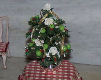 1:12th Dollhouse Christmas Tree.  Decorated.  Comes with Sterling Silver Container.  Green Apples and Roses.