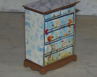 1:12th Dollhouse Chest with Drawers.  Decoupaged.