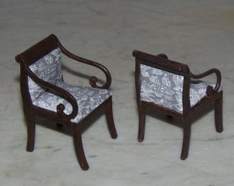 Chairs for 1:12th Dollhouse.  Empire Upholstered in Gray and white Toile.
