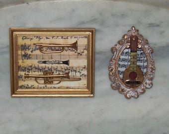 Wall Art for 1:12th Dollhouse.  Framed Musical Instruments.