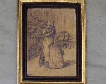 Framed Art for 1:12th Dollhouse.  French Country.  Woman Churning Butter.