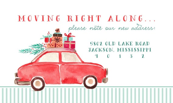 Change of address moving right along weve moved moving stickers return address labels watercolor christmas label