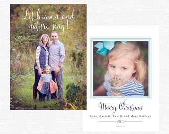Let Heaven and Nature Sing Natural Simple Merry Christmas Cards-FREE SHIPPING or DIY printable