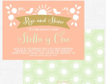 Rise and Shine birthday party invitation-FREE SHIPPING or DIY printable