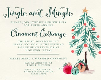 Ornament Exchange Party Invitations   Christmas Party Invitation   Watercolor Tree   Red & Green -FREE SHIPPING or DIY printable