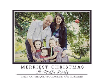 Christmas Card | Merriest Christmas | Photo card | Simple Navy and White | Classic Christmas-FREE SHIPPING or DIY printable