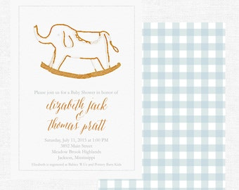 Baby Shower Invitations | Elephant Rocker | Baby Boy | Watercolor | Vintage | Classic | Blue Gingham | Check -FREE SHIPPING or DIY printable