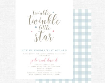 Gender Reveal Invitations | Twinkle twinkle Little Star |  How We Wonder What You Are |  Pink or Blue -FREE SHIPPING or DIY printable