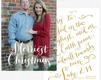 Merriest Christmas Glory to God in the Highest Christmas Cards-FREE SHIPPING or DIY printable