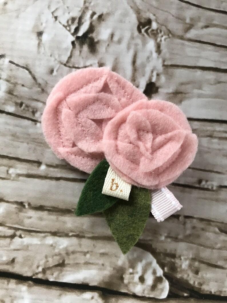 Pink on Pink Double Felt Flower Alligator Clip