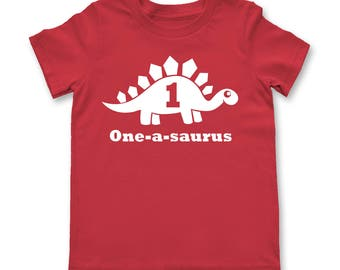 First Birthday One a Saurus Shirt shirt Kids raglan birthday