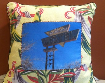 """One of a kind 18x18"""" throw pillow made with vintage fabric featuring original roadside photograph"""
