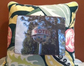 18x18 Handmade vintage Bark Cloth throw pillow with original roadside photograph