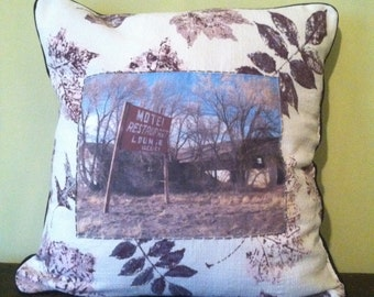"""One of a kind 18x18"""" throw pillow made with vintage fabric featuring original roadside motel photograph"""