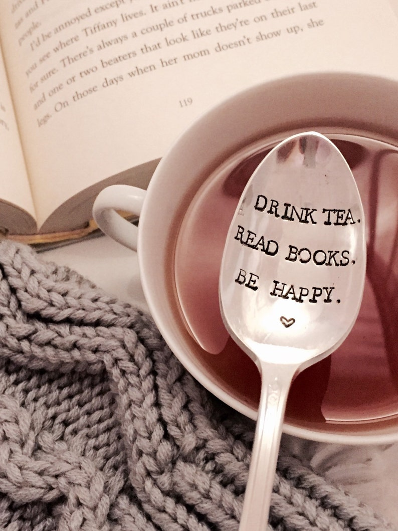 Drink Tea Read Books Be Happy tea lover gift book lover image 0