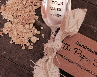 Eat Your Oats vintage hand stamped tea spoon created by The Paper Spoon - oatmeal lover, clean eating, gift under 25,  oatmeal spoon