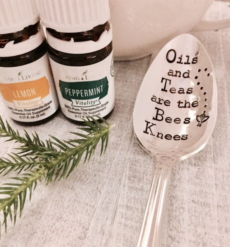 Teas and Oils are the Bees Knees vintage stamped spoon created image 0