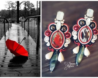 Soutache earrings chandelier red white black sparkling gift Valentine