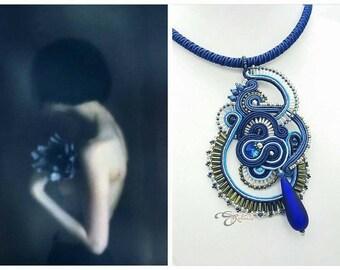 Blue soutache pendant murano glass