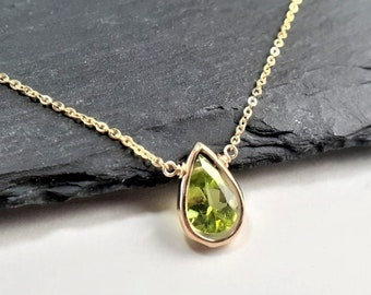 Genuine Peridot Necklace, August Birthstone / Handmade Jewelry / Peridot Necklace Gold, Silver Necklace, Necklaces for Women, Dainty Minimal