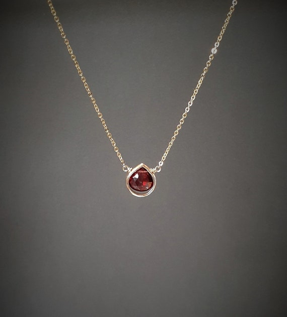 Vintage Pendant Garnet Sterling Silver January Birthstone Gifts Under 30 Dressy Statement Jewelry