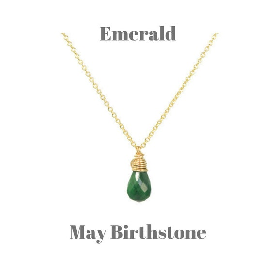 Silver Emerald Gemstone Bar Necklace Handmade Jewelry May Birthstone Sterling Silver 16 Inches Long