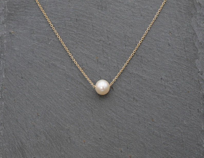 Silver Necklace Akoya Pearl Floating Necklace June Birthstone  Dainty Bridal Necklace Simple Gold Necklace  Single Pearl Necklace