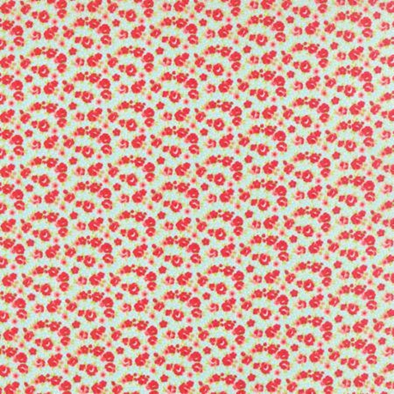 Red Floral on Aqua  Fat Quarter  Little Ruby  by Bonnie and image 0
