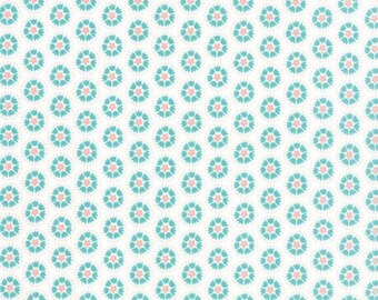 Blue and Pink Flowers on White - Lil Red Floral from Moda Fabrics