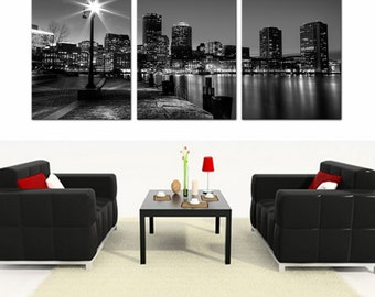 3 canvas art modern boston skylinefinancial district blackwhite ready to hang piece picturewall art mounted on fiberboardbetter than stretched canvas etsy