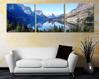 3 canvas art beach saint mary lake in montanaglacier national parkwild goose islandready to hang piece mounted on fiberboardbetterthan stretched canvas canvas art etsy