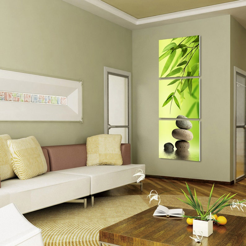 Zen Bamboo Stones Ready To Hang 3 Panel Set Digital Wall Art Print Mounted On Fiberboardsbetter Than Stretched Canvas