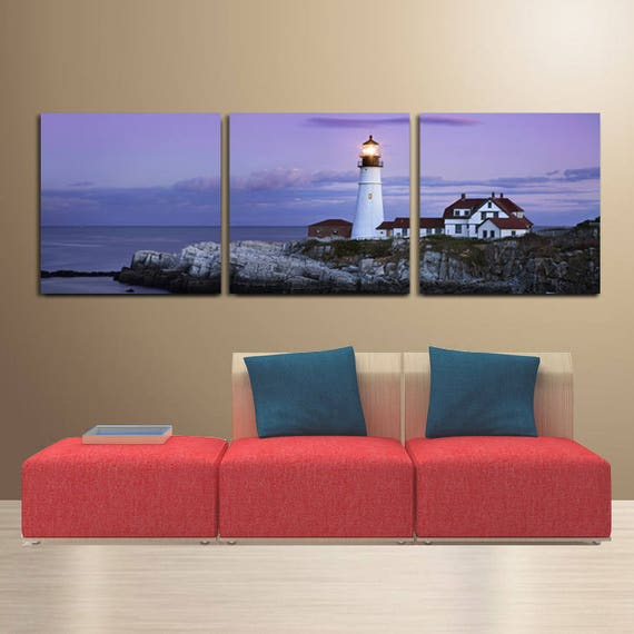 Palm Tree//Seascape easy hang 5 piece mounted canvas wall art//Surpassed stretched