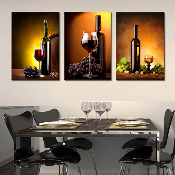Wine Bottle Ready To Hang 3 Panel Set Digital Wall Art Print Mounted On Fiberboardsbetter Than Stretched Canvas