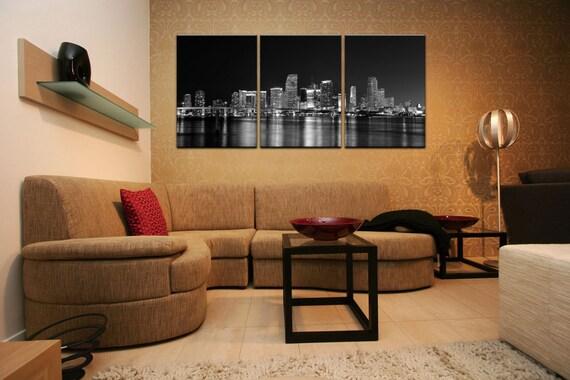 Miami Skylineflorida Blackwhite Ready To Hang 3 Piece Etsy