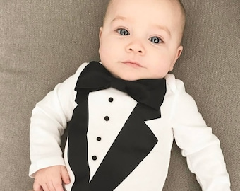 Baby Tuxedo bodysuit, Wedding, Ring Bearer outfit, take home outfit, newborn photo session, Wedding baby outfit, flower girl