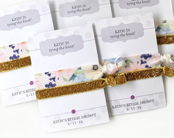 bridal shower favors floral party decorations pink and gold bridal shower hair ties bridal shower prizes wedding shower tying the knot